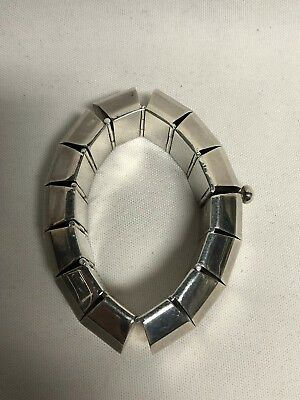Los Ballesteros Taxco Mexico Heavy Sterling Silver Panel Link Bracelet 133g