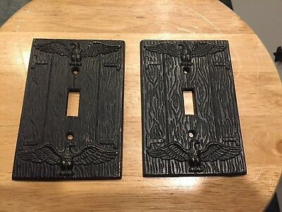 2 Vintage Light Switch Plates Americana Eagle Very Cool