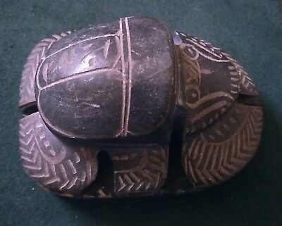 Large Old antique Carved Black Stone Egyptian Scarab Beetle Paperweight