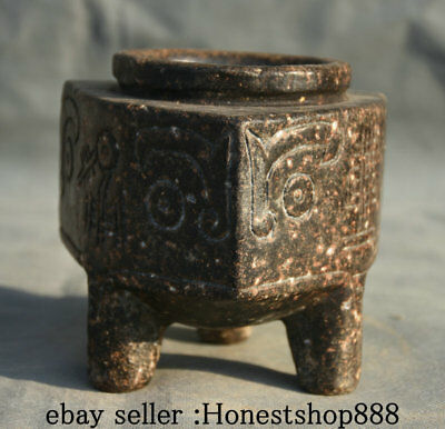 "5.2"" Rare Old Chinese Hongshan Culture Jade Carving Sheep Beast 3 Foot Jar Jug"