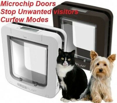 NEW White or Brown SureFlap Microchip Pet Door for small pets with CURFEW MODE