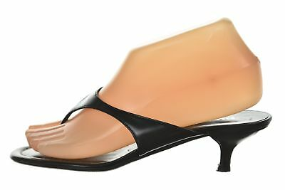 615feac92 Prada Womens Shoes Size 36.5 6.5 Black Solid Leather Sandal Heels Causal
