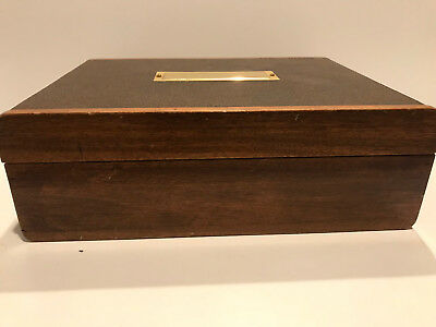 Antique Autopoint Leather and Wood Poker Chip Manager / Card holding wood Box