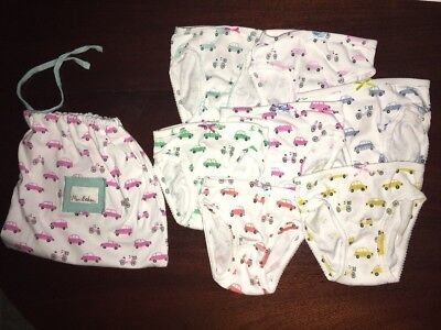 NWT 3/4 Mini Boden 7 Pair of Underpants in the Vehicle Pattern & Matching Bag