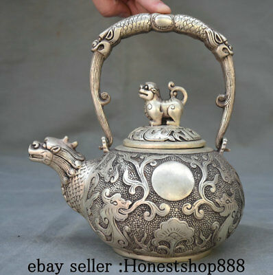 "7.2"" Marked Old Chinese Silver Palace Dragon Handle Beast Teapot Teakettle Pot"