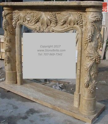 LARGE Hand carved Travertine Mantel – Column Mantle – Grapevine Pillar - STONE