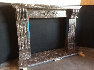 """Black Marble Mantel – Corbel – Hand Carved Stone Mantle – IN STOCK - 75"""" wide"""
