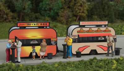 2904 Walthers SceneMaster BBQ & Taco Food Truck Trailers Kit HO Scale