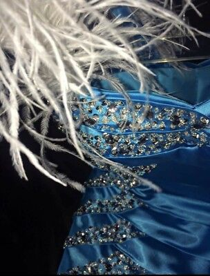 Formal Gown Prom Dress ice blue turquoise crystal rhinestone details Never Worn