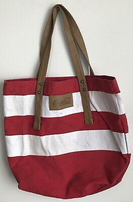 Coca Cola Red And White Striped Canvas Tote Bag Vegan leather handles