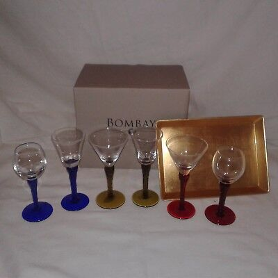 Bombay - 7 piece -  Stem Glass Cocktail Cordials Collector Set with Tray - New