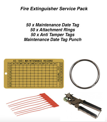 Fire Extinguisher Service Pack - Punch, 50 x Date Tags, Rings & Anti Tamper Tags
