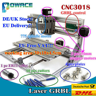 【EU】CNC 3 Axis DIY 3018 GRBL Control Laser Machine Pcb Wood Router + ER11 collet
