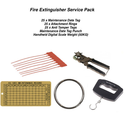 Extinguisher Service Kit - Punch, Scale, 25 x Date Tags, Rings, Anti Tamper Tags
