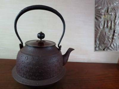 Japanese Antique KANJI old Iron Tea Kettle Tetsubin teapot Chagama 2418