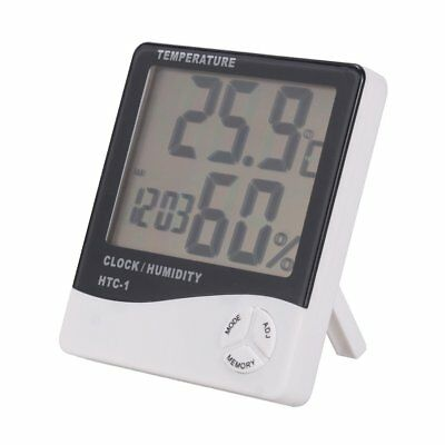 LCD Display Temperature Meter Humidity Clock Home Room Thermometer Digital Meter