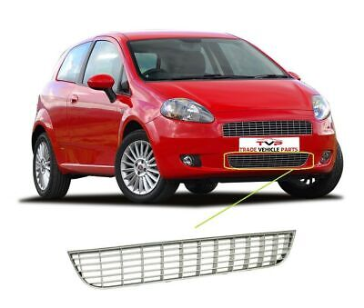 Fiat Grande Punto 2006-2010 Front Bumper Lower Centre Grille Silver High Quality