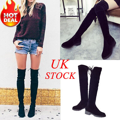 UK Womens Ladies Flat Low Heel Over The Knee Thigh High Suede Boot Shoe Size 2-5