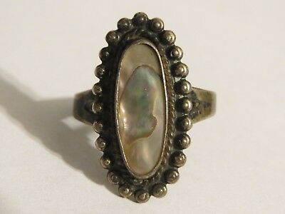 Vintage Bell Trading Post Sterling Ring with Abalone Shell 7.5 Signed