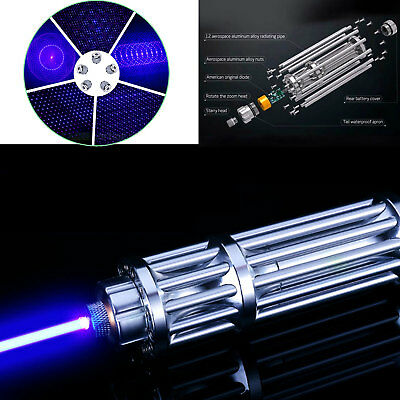 Blue Laser Pointer Burning Light  450nm High Powerful  Pen 5mW & 5 Star Caps