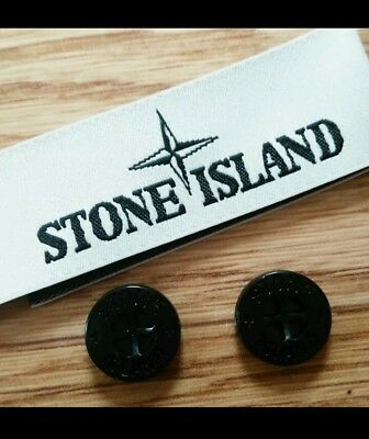 New Stone Island 14Mm Replacement Gloss Black Arm Badge Buttons & Neck Label