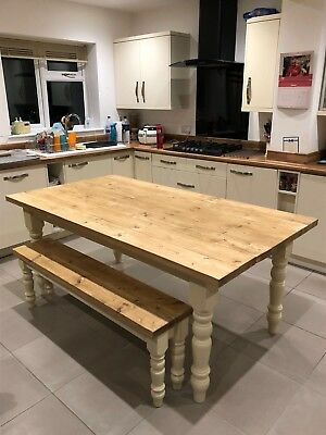 Handmade bespoke farmhouse dining table, bench and chairs.