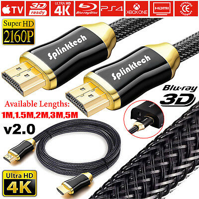 PREMIUM HDMI 4K Cable v2.0 HD High Speed 2160p 3D Lead 1m/2m/4m/5m/10m/15m/20m