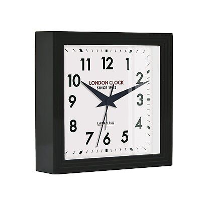 London Clock 1922 Station Collection Express Black Square Alarm Clock, BNIB, (D)