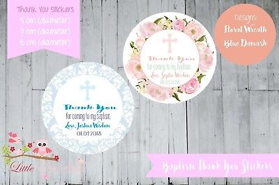 Personalised Baptism circle round gloss labels stickers thank you Floral Blue