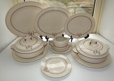 Rare Royal Doulton Art Deco Darley 3 Platters 2 x Tureens 2 Dinner Plates 10pc