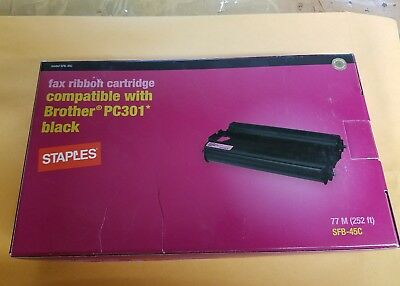 Staples - Fax Cartridge - Compatible with Brother PC301 Black NEW