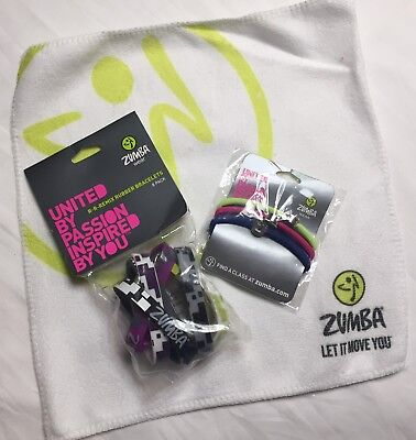 Zumba NEW 8 Rare BRACELETS, Hair Ties Towel set lot Hard To Find NWT R R Remix