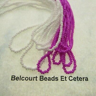 20 Gr Each Opaque Dyed Lilac & White 10/0 Glass Seed Beads Prestrung Czech