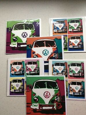 50 Vw Camper Van Retro Print Cards Blank Greetings Birthday Wholesale Joblot