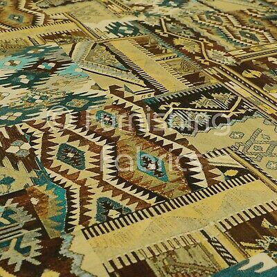 Tribal Old Aztec Theme Patch Pattern Velour Printed Velvet Upholstery Fabrics