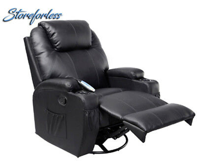 Massage Recliner Sofa Chair Deluxe Ergonomic Lounge w/ Heated Control Black New