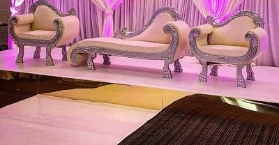 Silver and White Wedding sofa set for hire - sofa only or set