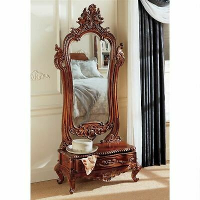 """Antique Replica Victorian Style Hand-Carved Solid Mahogany 74"""" Dressing Mirror"""