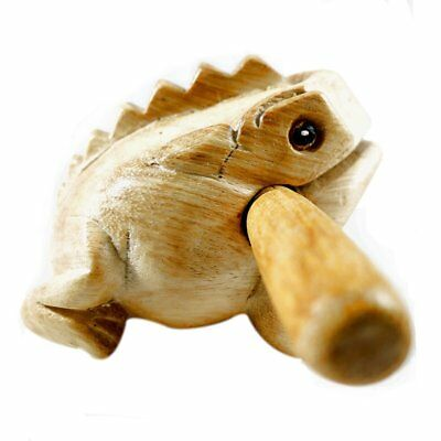 2'' Thailand Hand Carved Wooden Frog Guiro Rasp Croaking Sound  Toy Natural