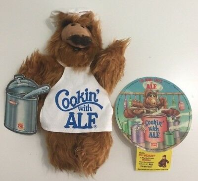 Vintage 80s Burger King Promo Cookin with Alf Puppet Plush Stuffed & Record Tags