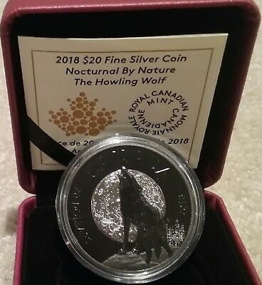 2018 THE WOLF Canada Nocturnal Nature $20 1OZ Pure Silver Coin, Black Rhodium