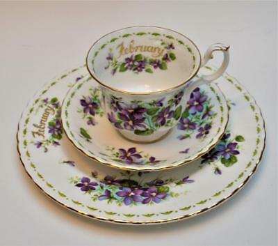 ROYAL ALBERT Bone China England Flower VIOLETS FEBRUARY Trio Cup Saucer Plate