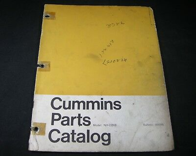 cummins nh-220-b diesel engine parts manual book catalog nh220b
