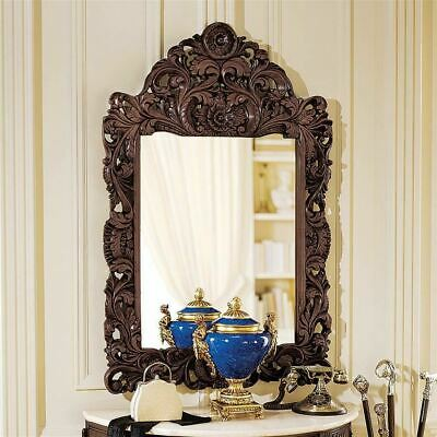 """Antique Neoclassical French Barocco Hand-Carved Hardwood 45.5""""  Wall Mirror"""