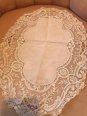 1900s French Tambour Lace Textile Ornate Linen Center Roses Petite Pointe Chic