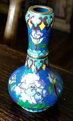 "Vintage Chinese Cloisonne Floral With Birds Miniature 4"" Vase Artist Signed"