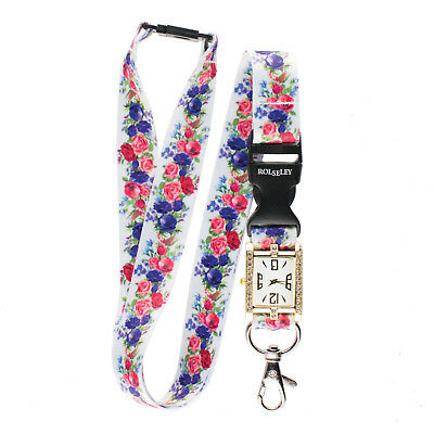 FLORAL / ROSES WHITE Lanyard integrated NURSE FOB WATCH Beautiful Neck Strap