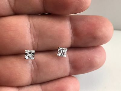 14K Solid White Gold Stud Earrings W/ 1 Ct Princess Lab Diamonds / 5Mm By 5Mm