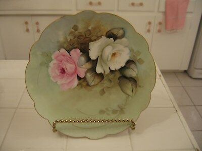Beautiful Vintage Hand Painted And Signed Peters Decorator Plate With Roses