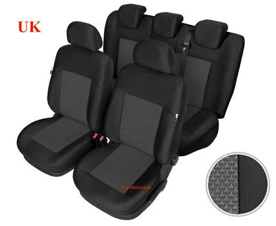 Tailored Fabric Car Seat Covers Black Grey Full Set Fit For RENAULT MODUS